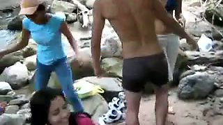Amazing public flash at the beach with hot and skinny Taiwanese chicks