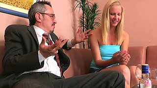 Lascivious old teacher is humping babe's taut anal tunnel
