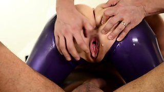 Two dicks disappear in Latex Lucy