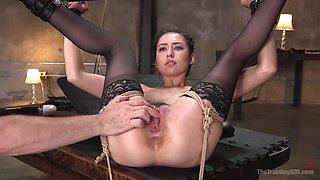 hot brunette slave learns a lesson in rope bondage
