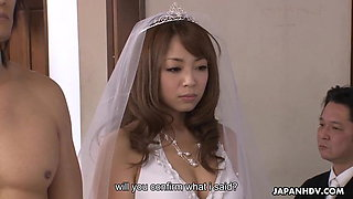 The freshly married couple fucks and creams the bride