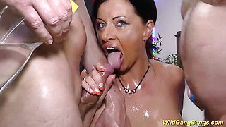 Cute german Milf gets oiled and banged