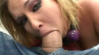Torrid rapacious blondie gets tied up and sucks a fat lollicock for gooey cum