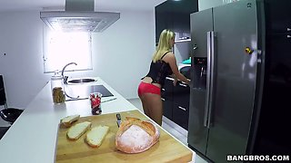 Bosomy damsel Katerina plays with a banana before hot kitchen sex