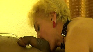 Blonde Granny  seducing black man blow job