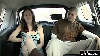 Brunette babe gets fucked in the car