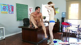 Red haired wild GF Gwen Stark sucks her brutal teacher off in 69 pose on table