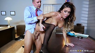 Fit and busty bitch in stockings fucked by her boss