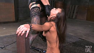Cruel mistress makes use of strapon to punish Asian whore Kalina Ryu