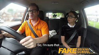 fake driving school sexy spanish learner sucks big cock