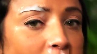 Spicy Centerfold Gets Jizz Shot On Her Face Swallowing All T