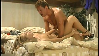 Couple has some awesome time on the bed for fun
