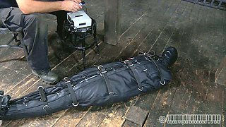 Ridiculously horny master puts his slave in sleep sack