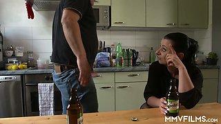 Slutty housewife Bonny Devil is fucked by bald headed dude in the kitchen