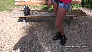 smoking russian babe fucks in the park