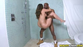 Big ass honey is in interracial passion in the shower