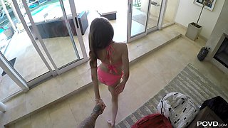 Slim brunette Rebel Lynn  shows off her sexual skills to a lucky man