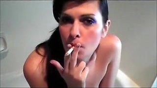 Incredible amateur Smoking, Brunette porn clip