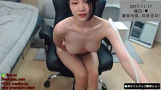 korean camgirl smokes and fucks herself