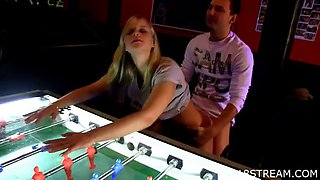sexy blonde's fucked over the the soccer table