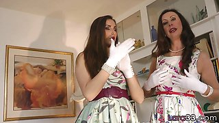 Hot Lesbian duo dressing up during foreplay