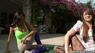 Delectable blonde babe Pocahontas Jones has a yoga workout