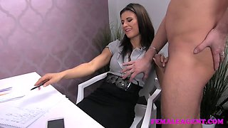 FemaleAgent Horny stud want to finish on agents amazing tits