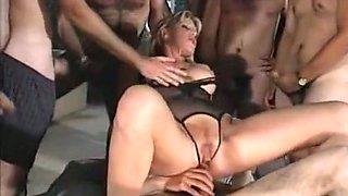 Stunning busty Italian slut having wild gangbang session