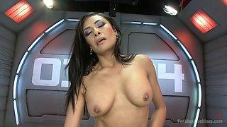 Juicy pussy babe fucks a dildo machine
