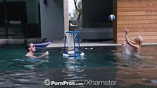 PORNPROS Pool party with two blondes turns into threesome