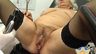 Granny Norma pounded hard by a sex machine
