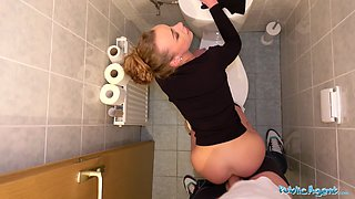 Public Agent Multiple orgasms as tight pussy stretched in public toilet