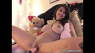 slutty big boobs hoochie uses fucking machines to pleasure herself in total self pleasuring