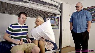 Slutty stepmom Brittany Andrews helps her stepson to cum several times