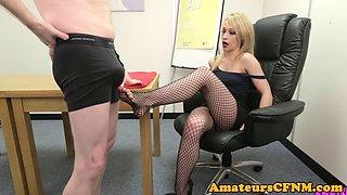 British CFNM babe jerking dick with her feet