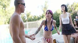 Emo girlfriend sucks her boyfriend's cock outdoor