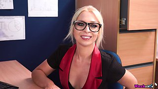 Secretary in glasses Jamie T is dildo fucking her insatiable pussy in the office