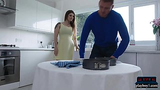 Housewife MILFs both cook a pie for the big dick neighbor