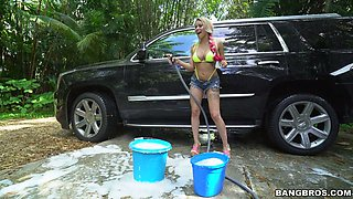Exotic blonde chick Marsha May gets nailed when she washes car
