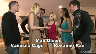 Horny and rapacious Mae Olsen takes a chance to be fucked doggy during orgy