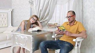 Eyeglasses beauty Sonia Sweet fucks with teacher