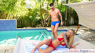 Tattooed blonde Karma Rx seduces friend of her boyfriend and gets laid by the poolside
