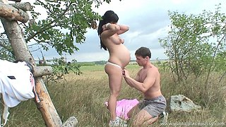 Beautiful pregnant girl is horny as hell and needs to fuck outdoors