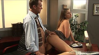 Brunette hottie with small boobs Allie Haze fucks her boss Randy Spears