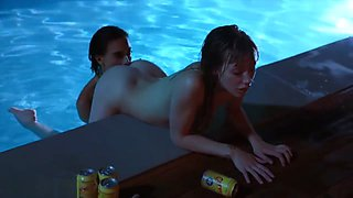 VIXEN Janice Griffith and Ivy Wolfe Sneak Into Backyard For Nighttime Pool