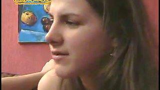 Cute brunette authentic Russian teen Vanda is tipsy