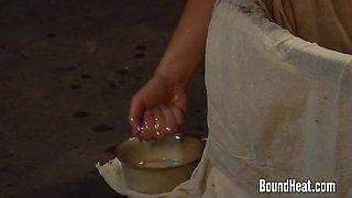 Gorgeous Blonde Slave Taking A Bath