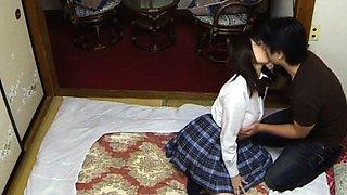 Japanese schoolgirl gets punished and sucks hard cock