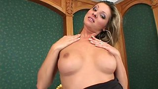 Nasty Caroline Cage shoves to dildos in her hot pussy