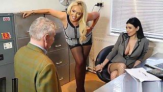 Sexy bosses turn office perv into nylon foot worship slave